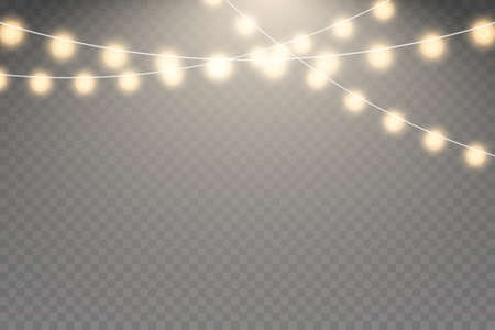 Fairy lights isolated on transparent background. garlands string. Vector illustration EPS10