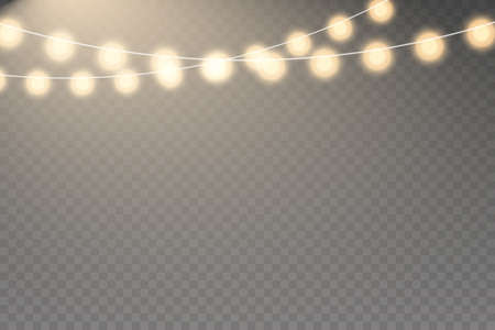 Fairy lights isolated realistic design elements. Glowing golden garlands string.