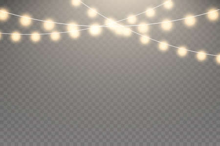 Fairy lights isolated on transparent background. Set of golden glowing garland. Lights bulbs isolated Illustration