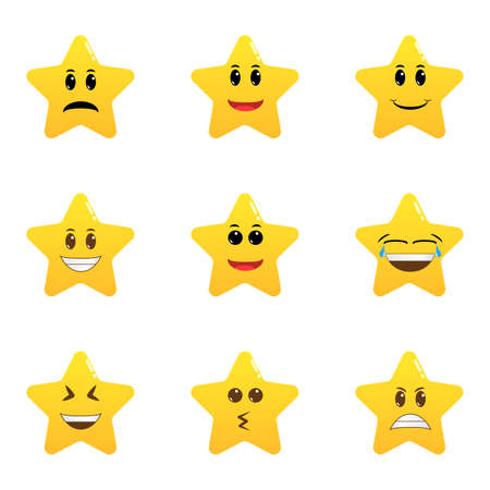 Set of star emoticons isolated. Collection of difference emoticon icon of star cartoon. Smile faces with various facial expressions.