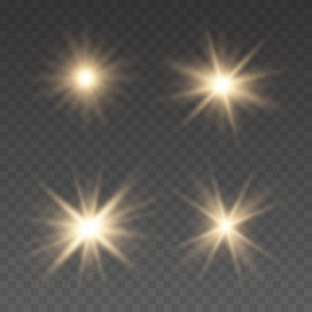 Light effect Bright Star. Beautiful light for illustration. Flashes and glares. Bright rays of light. Glowing lines.