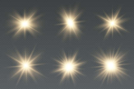 Set of golden light effects on a transparent background.  Light effect Bright Star. Beautiful light for illustration.