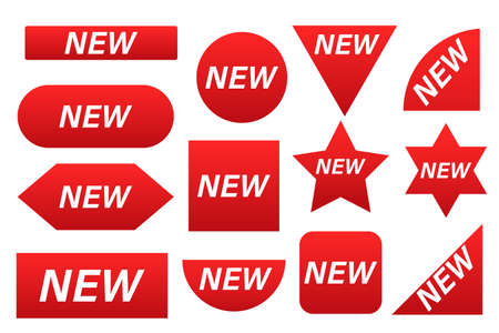 Stickers for New Arrival shop product tags. Discount red ribbons, banners and icons. Shopping Tags.