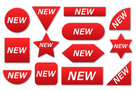 New tag ribbon and banner vector. New ribbons. Corner banner, new tag labels