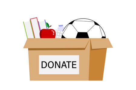 Cardboard box for donations. Box Full of Things for Donation from Food, Medicine, Books, Ball