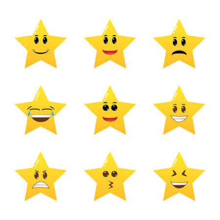 Collection of difference emoticon icon of cute star cartoon. Funny cartoon star character emotions set