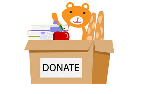 Cardboard box for donations. Box Full of Things for Donation from Food, Medicine, Books, bear