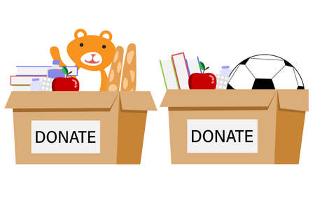 Cardboard box for donations. Box Full of Things for Donation from Food, Medicine, Books, Ball, bear. Box with different type of donation isolated