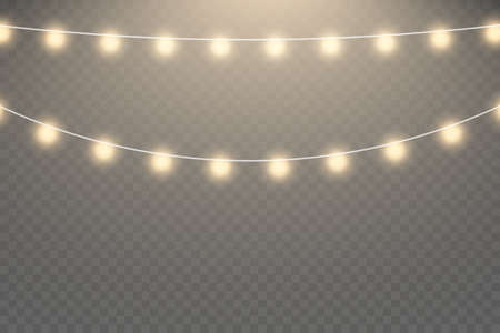 Christmas lights isolated realistic design elements. Glowing lights for Xmas Holiday cards.Garlands decorations.
