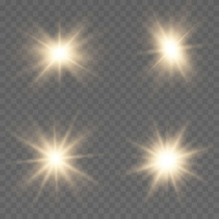 Set of gold bright beautiful stars. Light effect Bright Star. Beautiful light on the translucent. Light for banners. Illustration