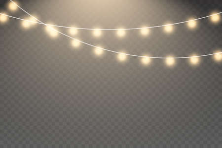 Xmas glowing garland. Vector illustration. Glowing light bulbs Christmas and New Year realistic garlands