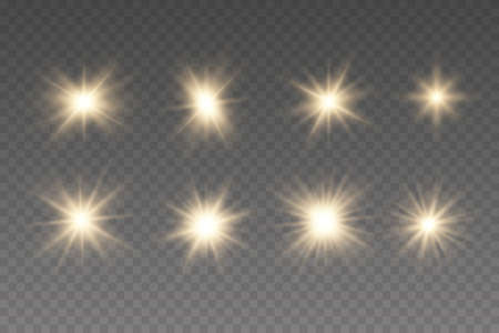 Set of golden glowing lights effects existing.  Christmas star. Yellow sparks sparkle with a special light.
