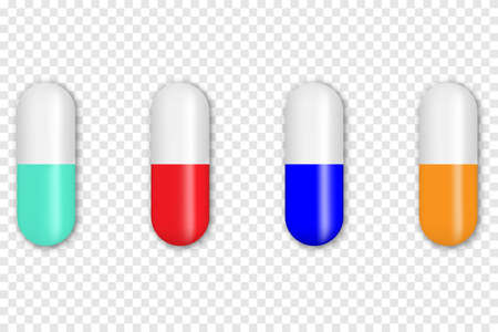 Realistic colorful medical pills, tablets, capsules. Vector illustration