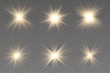 Set of gold bright beautiful stars. Light effect Bright Star. Bright flashes. Beautiful light on the translucent. Light for banners.