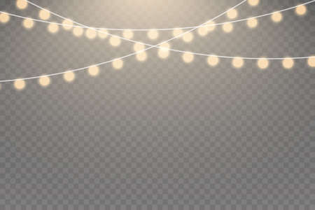 Christmas lights isolated realistic design elements. Glowing lights for Xmas Holiday cards, banners, posters, web design. Garlands decorations.