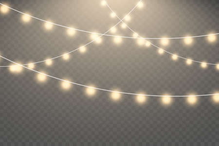 Christmas lights isolated on transparent background. Glowing lights for Xmas Holiday greeting card design. Garlands, Christmas decorations.
