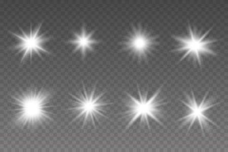 Glow isolated white transparent light effect set. Bright Star. Vector sparkles. Illustration