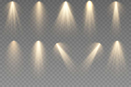 Glowing light effect with golden rays and beams. Scene lighting large collection, transparent effects