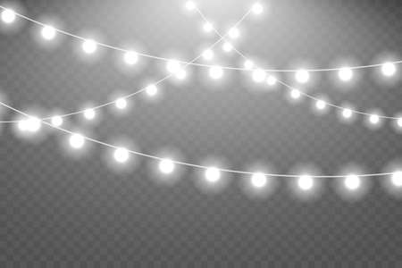 Glowing lights for Xmas Holiday greeting card design. Christmas lights. Shiny lights