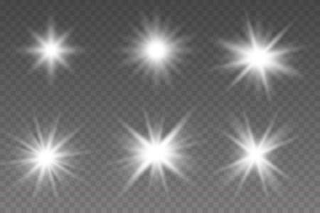 Glowing lights effect, flare, explosion and stars. Sparkling magical dust particles. Bright Star. Transparent shining sun, bright flash Illustration