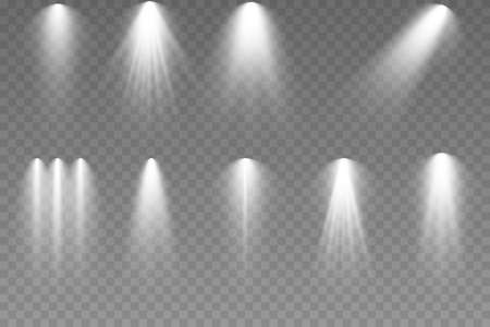 Set of Spotlight isolated. Collection of stage lighting spotlights, scene