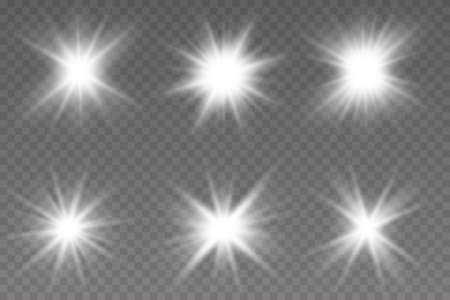 Light effect set, lens flare, explosion, glitter, line, sun flash, spark and stars. Lights effects existing on a transparent background