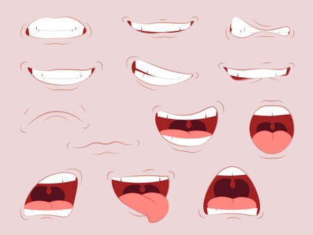 Lips with a variety of emotions. Cartoon cute mouth expressions facial gestures set with pouting lips smiling sticking out tongue Vettoriali