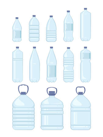 Water plastic bottle. Healthy agua bottles vector illustration. Clean drink in plastic container