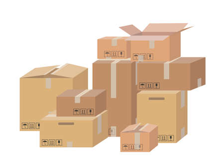 Carton delivery packaging open and closed box with fragile signs. Shipping parcel packaging templates collection. Vector Illustratie