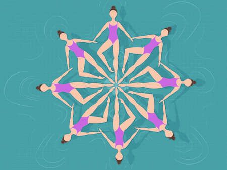 Vector illustration. Synchronized swimming. Sports element Synchronized Swimmers