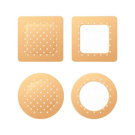 First Aid Band Plaster Strip Medical Patch Icon Set. Adhesive Bandage Vektoros illusztráció