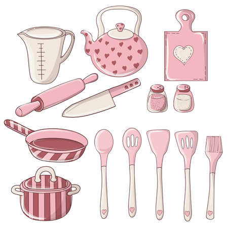 Set of colorful doodle kitchen and utensil. Kitchenware, cookware, kitchen tools. Kitchenware collection. Lots of kitchen tools, utensils, cutlery.