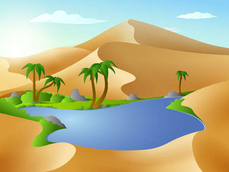 Oasis in the desert dunes. Panorama or landscape of desert with oasis