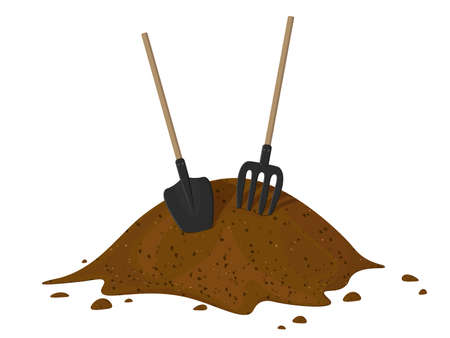Heap of earth, heap of soil. Vector illustration on white background. Hayfork In A Pile Of Substrate.