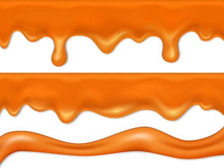 Caramel dripping. Caramel sauce or liqued chocolate drip from top. 3d realistic illustration of flowing vanilla toffee sauce, honey or brown sugar syrup collection with vector brushes Vettoriali