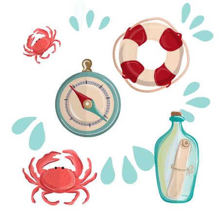 Nautical doodle set with lifebuoy, compass, crab, glass bottle with note and lighthouse. Vector illustration EPS10