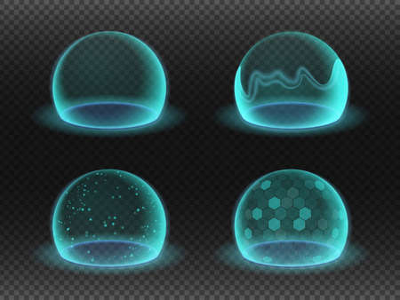 Bubble shields. Energy shield effects isolated on transparency grid. Science fiction various deflector elements, absolute protection isolated