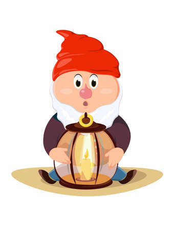 Colorful illustration of garden gnome. Cute fairytale character.
