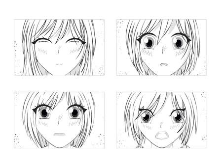 Four pairs of Asian Eyes look. Anime poster. Kawaii winking school girl face with big eyes in manga style