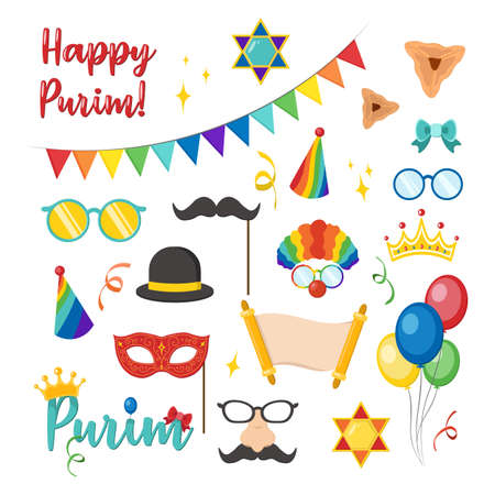 Happy Purim carnival set funny costume elements, icons for the party. Jewish holiday Purim set of costume accessories. happy purim in hebrew Vetores