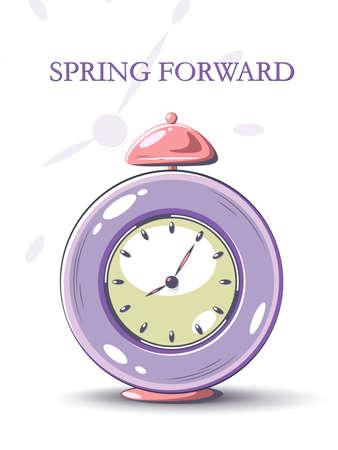Daylight Saving Time begins concept. Time management. Planning. Clock, hourglass, alarm clock, calendar and stopwatch.