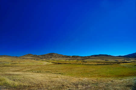 A dried out meadow in autumn. The background is blue sky and hills. Picturesque natural landscape. Keketuohai Scenic Area. Xinjiang, China. 2018