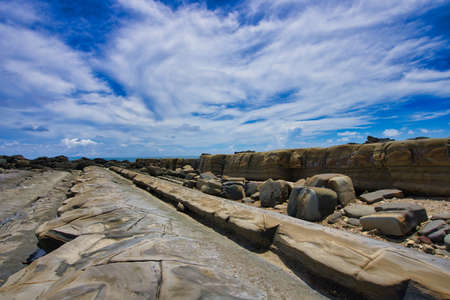 The erosion of the ocean and weathering. Forms strange rocks and stones. Fugang Geopark (Xiaoyeliu), Natural stone sculptural park. Taitung County, Taiwan. Sep. 2021