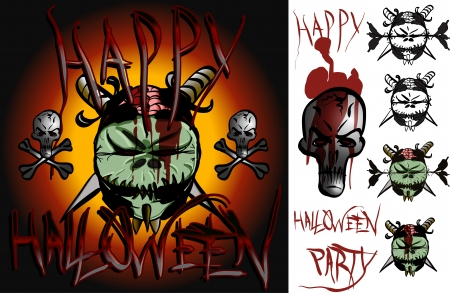 ghastly: Goblin a few skulls some blood splatter wicked writing all to invite you to a groovy  ghoully mash  Illustration