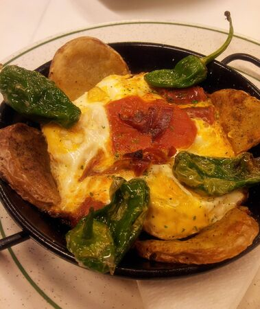 omelet: delicious omelet with potato and green paprika