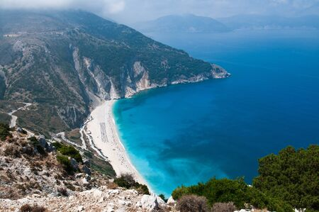 Myrtos beach, Kefalonia from high on the cliffs