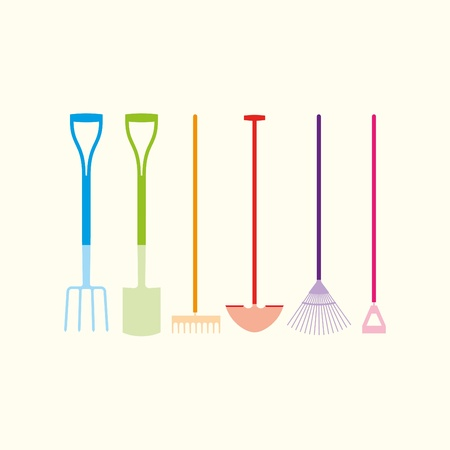 Six colourful garden hand tools Stock Vector - 11280581