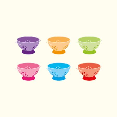 Six colourful kitchen colanders on a cream background