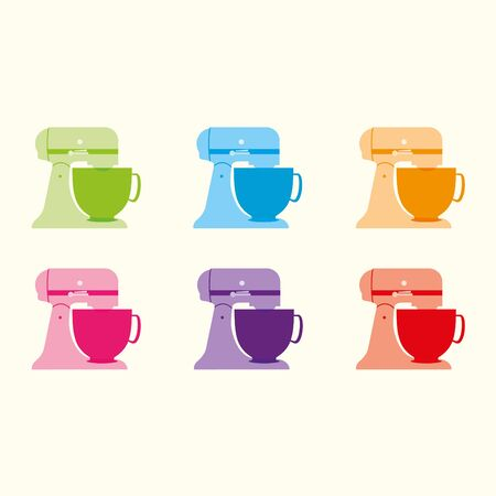 Six kitchen food mixers on a cream background Illustration