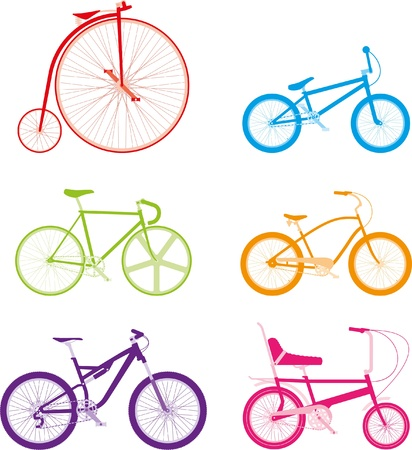 pink bike: Six colourful bikes on a white background